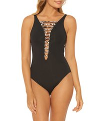 women's bleu by rod beattie knotted animal print trim one-piece swimsuit