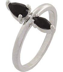 anel narcizza com gotinhas onix banhado no ródio branco