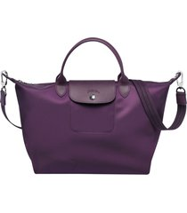 longchamp le pliage neo nylon purple handbag with shoulder strap size medium