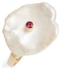 women's poppy finch ruby & pearl petal ring