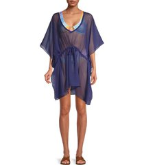 rachel roy women's sheer tie-waist kaftan - navy - size l