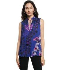 blusa azul-rosado-blanco desigual