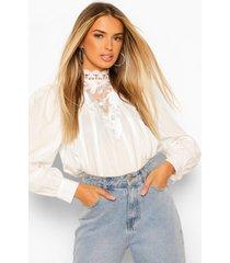 geplooide blouse met kanten zoom, ivory