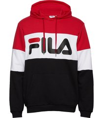 men night blocked hoody hoodie trui rood fila
