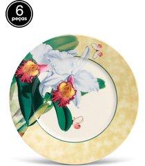 conjunto 6pã§s pratos rasos porto brasil mã´naco orchids branco - branco - dafiti
