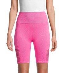 nine west women's high-waist seamless bike shorts - pink shock - size l/xl