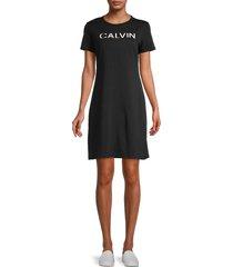 calvin klein women's logo t-shirt dress - black - size l
