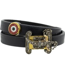double wrap evil eye black leather bracelet