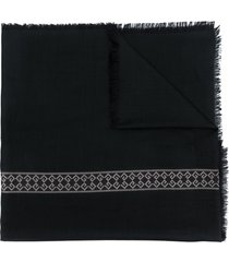 givenchy logo embroidered scarf - black