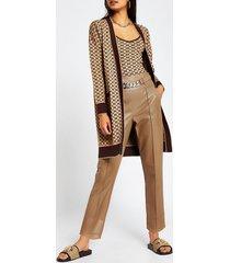 river island womens brown pu cigarette chain belt trousers