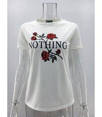 rose nada impresión de la letra camiseta camisetas de mujeres-blanco