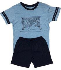 conjunto pijama curto bamboo world gol azul marinho - azul marinho - menino - bambu - dafiti