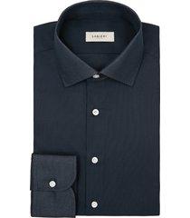 camicia da uomo su misura, thomas mason, giro inglese cotone microdesign blu scuro, primavera estate | lanieri