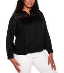 belldini black label plus size long sleeve button up top with lace detail