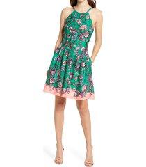 women's vince camuto floral halter neck scuba crepe fit & flare dress, size 14 - green