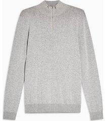 mens grey gray marl zip turtle sweater