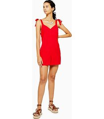 red tie shoulder romper - red
