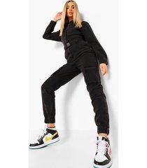 denim utility jumpsuit met ceintuur, zwart