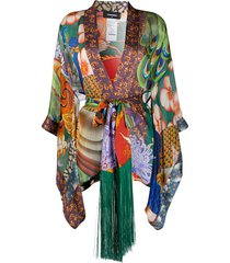 dsquared2 graphic print draped kaftan top - green
