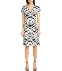 women's st. john collection architectural grid jacquard knit dress, size 8 - black