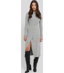 na-kd light knitted melange dress - grey