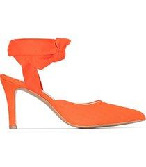 westernaffair checked ankle tie 75 pumps - orange
