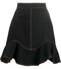 alexander mcqueen ruffled hem denim skirt - black