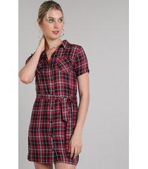 vestido chemise feminino curto estampado xadrez manga curta vermelho