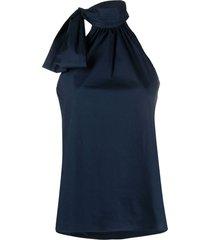 blue silk top with lavallière collar