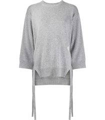 chloé side-tie loose-fit sweater - grey