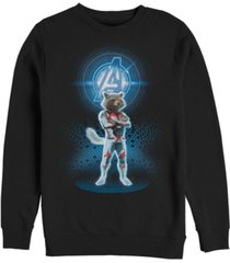 marvel men's avengers end game rocket armor suit, crewneck fleece