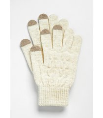 maurices womens metallic ivory cable knit finger tech knit gloves beige