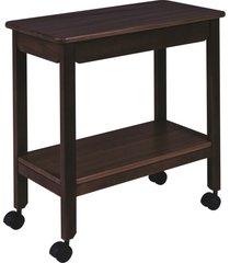 mesa de madeira auxiliar tramontina london em tauarí tabaco com rodízios 14072400