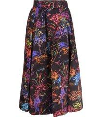 black midi skirt with fantasy print