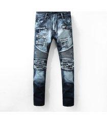 2017 hi-q men classic jeans knee drape panel moto biker jeans size 28-38 (962)