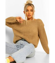 petite knitted detail sweater, stone
