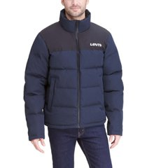 levi's men's colorblocked quilted puffer jacket