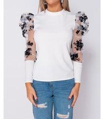 blouse paris floral flock print puffed sleeve high neck tops -