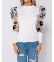 blouse parisian floral flock print puffed sleeve high neck tops