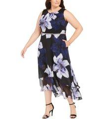 sl fashions plus size embellished floral-print a-line dress
