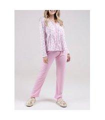 pijama longo feminino rosa