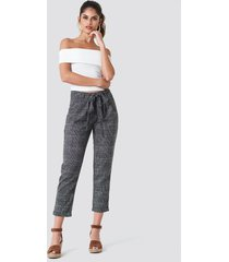 trendyol tied waist checkered pants - grey,multicolor