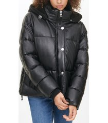 calvin klein jeans faux-leather puffer jacket