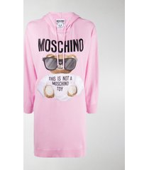 moschino logo embroidered graphic print hoodie dress
