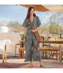 sundance catalog women's paisley daybreak jumpsuit - petites in vintpaisly petite xl