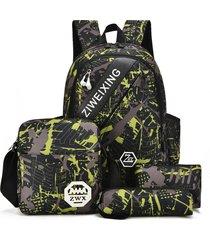 mochila/ camuflaje para adolescentes bolsas de hombro-verde