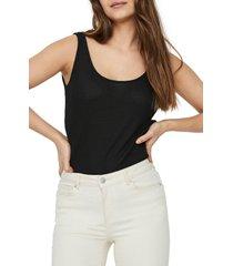 women's vero moda hanna rib sweater tank, size large - black