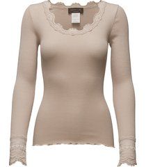 silk t-shirt regular ls w/wide lace t-shirts & tops long-sleeved beige rosemunde