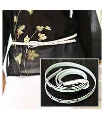distressed leather belt, 'white lasso' (indonesia)