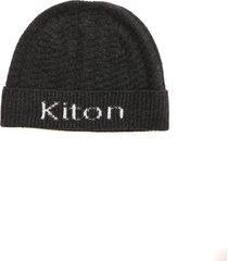 kiton branded cashmere beanie in dark grey